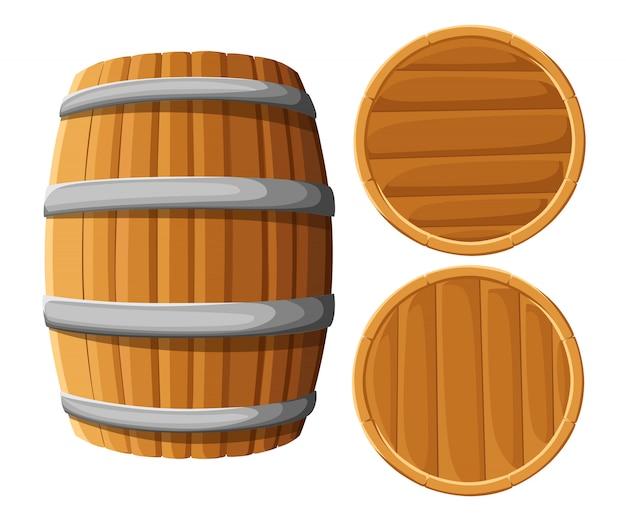 鉄の輪が付いた木製の樽。白い背景の上。ウッドビール樽。パブとバーのメニュー、アルコール飲料のラベル、醸造所のシンボル Premiumベクター