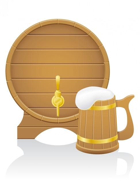 Wooden beer barrel and mug vector illustration Premium Vector