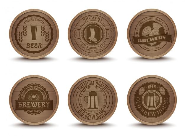 Wooden beer emblems mats icons set Free Vector