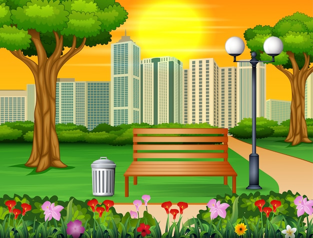 Wooden bench and trash can in city park with skyscrapers Premium Vector