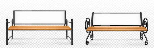 Wooden bench with empty advertising banner on back for street Free Vector