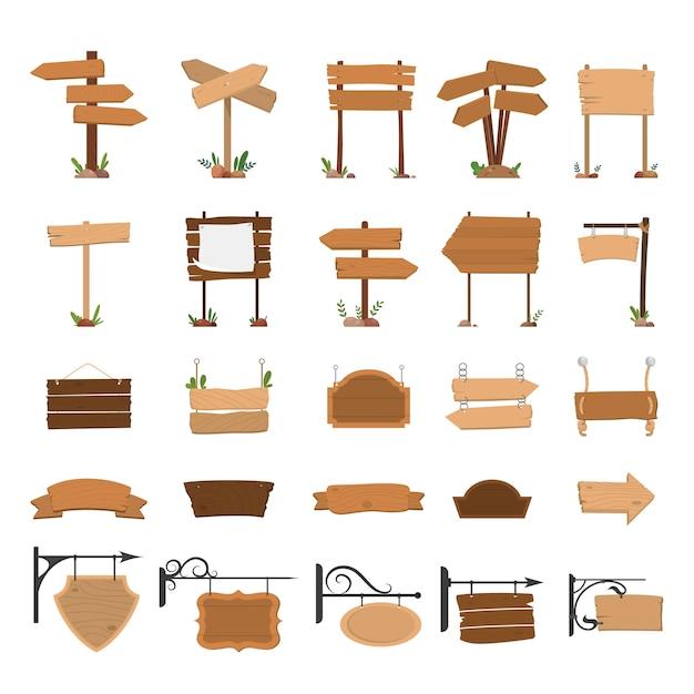 木製の看板。白紙の横断幕セット。ヴィンテージのコレクション Premiumベクター