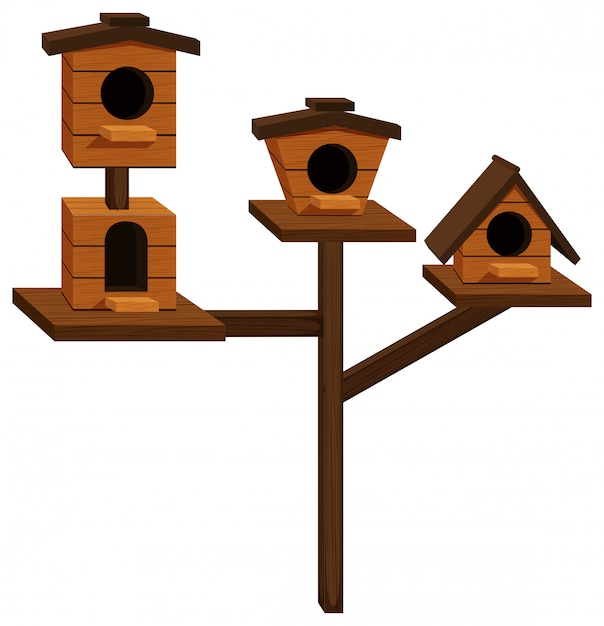 Wooden bird houses on one pole Free Vector