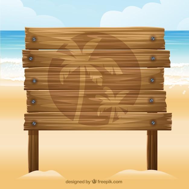 Wooden board in the beach vector premium download