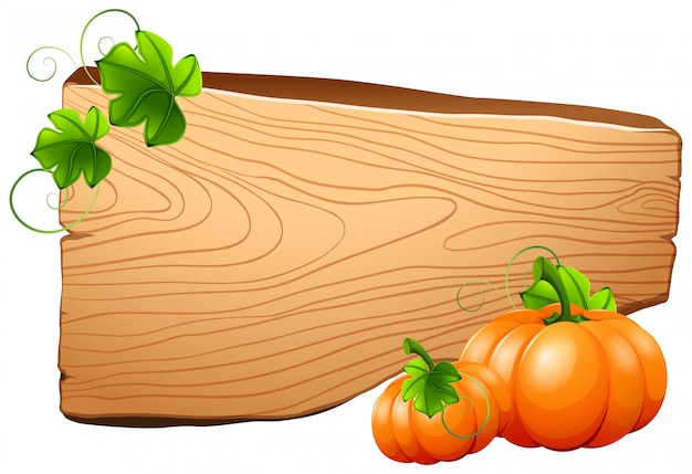 Wooden board and pumpkins on vine Free Vector