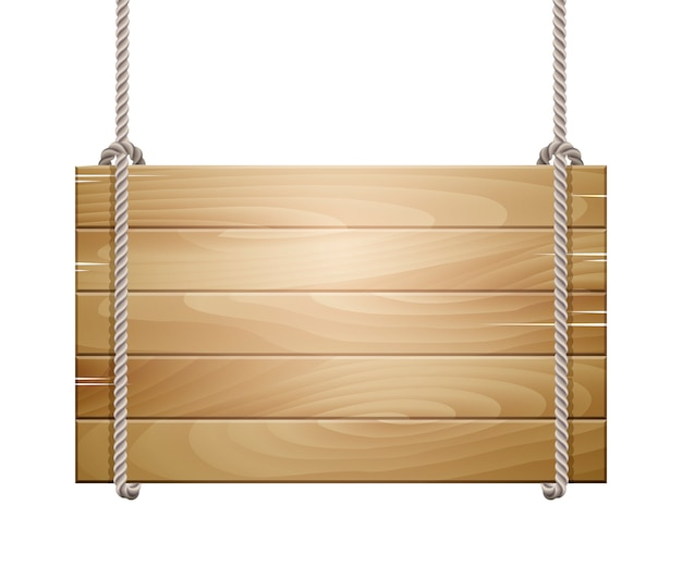 Wooden board sign hanging on a rope Premium Vector