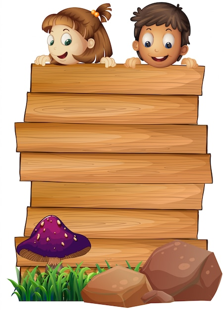 wooden board template with boy and girl vector free download