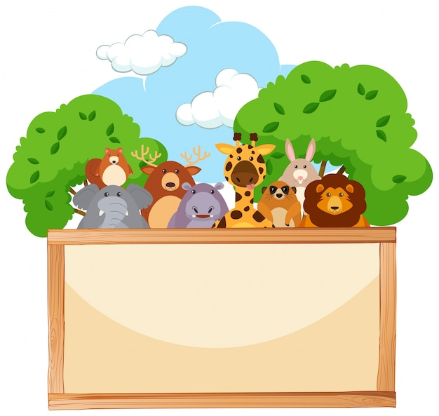 Wooden board with cute animals in background Free Vector