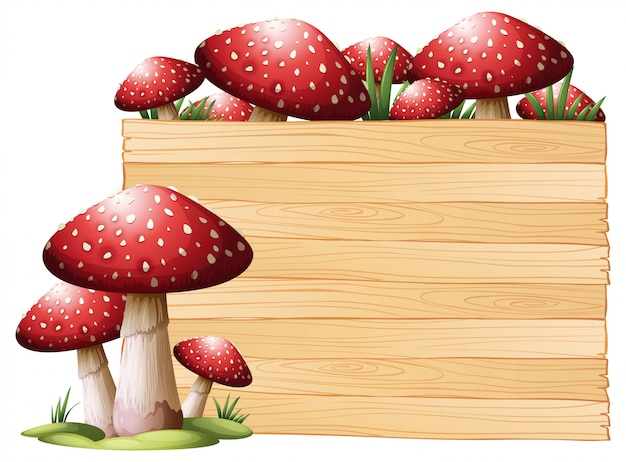 Wooden board with mushrooms Free Vector