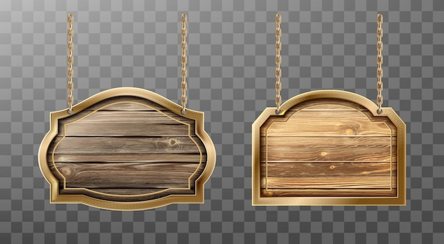 Wooden boards metal frame on ropes realistic sign Free Vector
