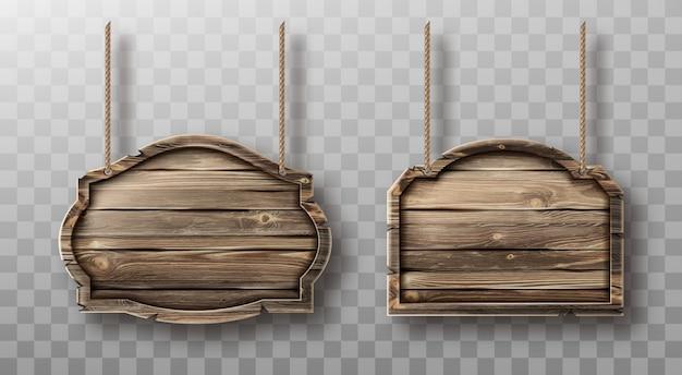 밧줄에 나무 보드 설정합니다. 현실적인 간판 무료 벡터