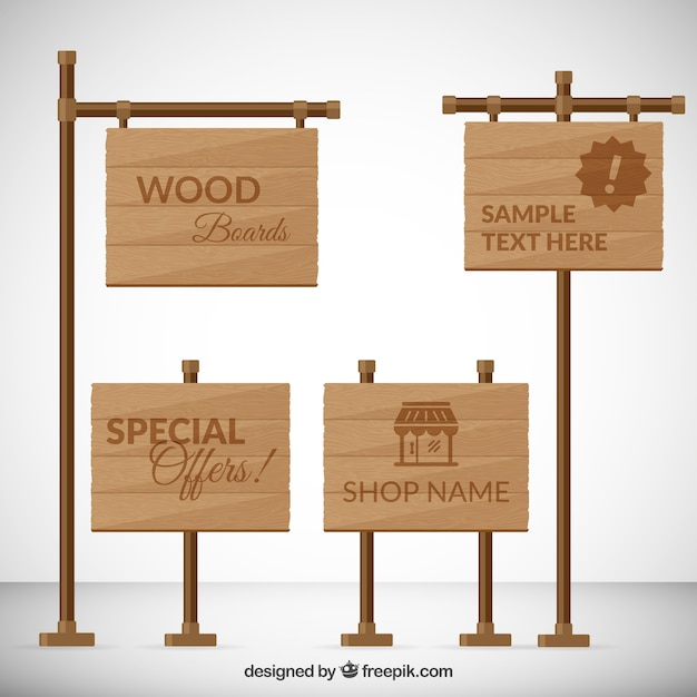 Wooden boards pack Premium Vector