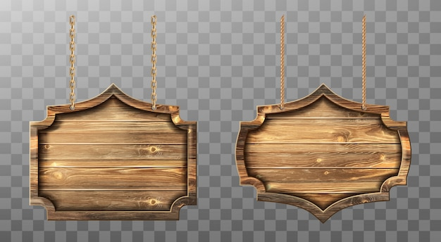 Wooden boards on ropes set. realistic signboards Free Vector