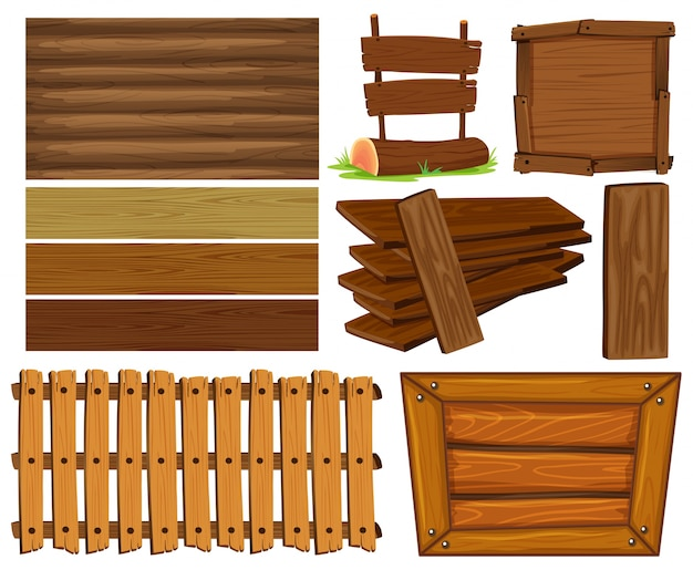 Wooden boards and sign illustration Free Vector