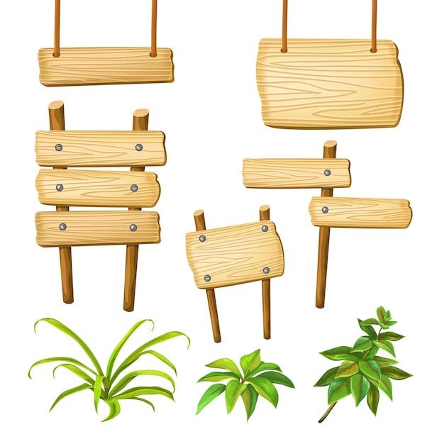 Деревянные доски с пространством для текста. Бесплатные векторы