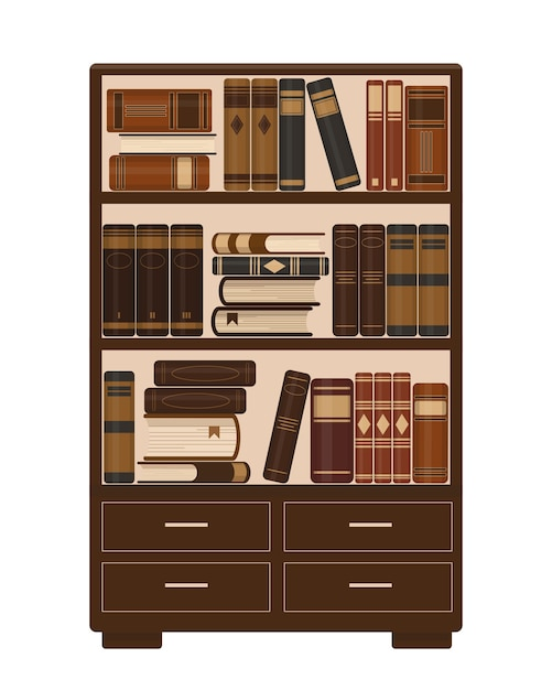 Wooden bookcase with old brown books. library, education or bookstore concept.  illustration. Premium Vector