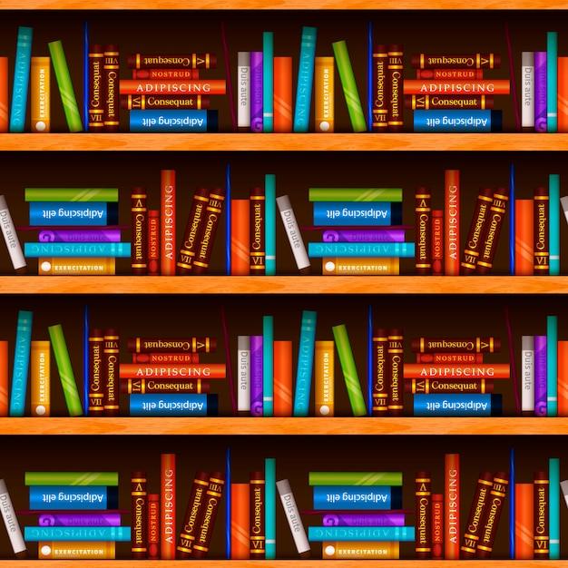 異なるカラフルな本、シームレスなパターンを持つ木製の本棚 Premiumベクター
