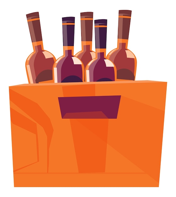 Wooden box for bottles with alcoholic beverages Free Vector