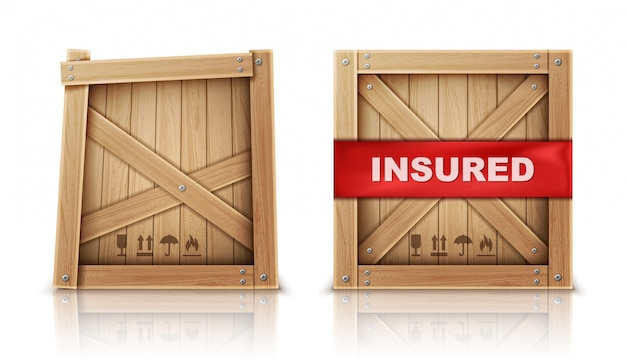 Wooden box, damaged and with insurance Free Vector