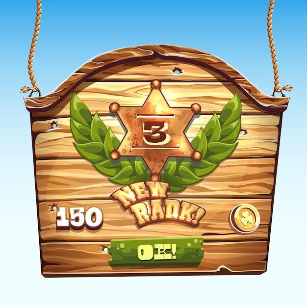 Деревянный ящик для нового уровня пользовательского интерфейса в компьютерной игре Premium векторы