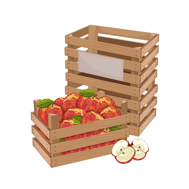 リンゴいっぱいの木箱 Premiumベクター