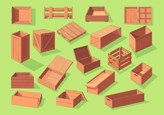 Деревянная коробка изометрические вектор установить значок. контейнеры для перевозки фруктов и овощей на поддонах Premium векторы