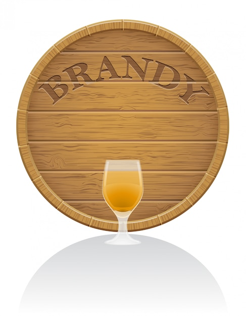 Wooden brandy barrel and glass vector illustration Premium Vector
