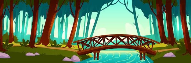 Wooden bridge crossing river in forest Free Vector