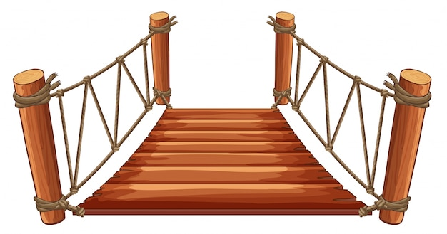 Wooden bridge with rope attached Free Vector