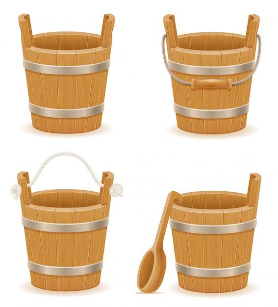 Wooden bucket with wood texture old retro vintage vector illustration Premium Vector