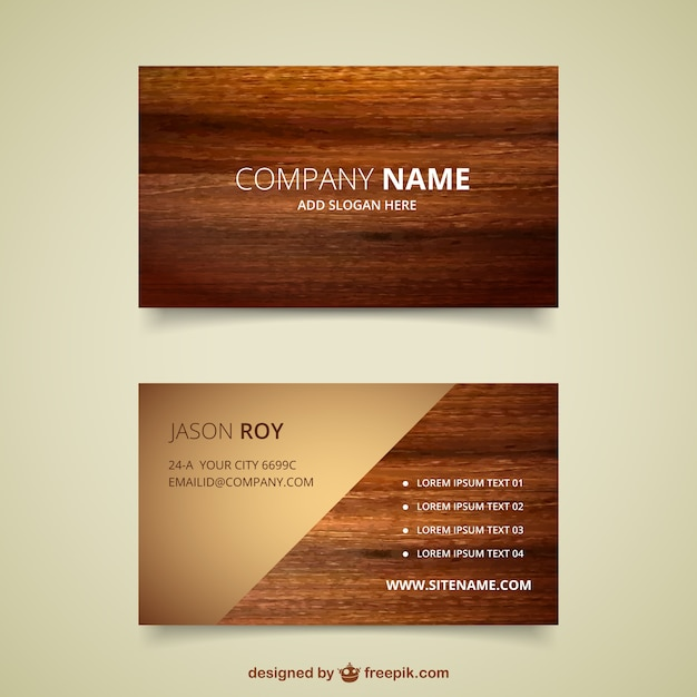 Wooden business card Vector