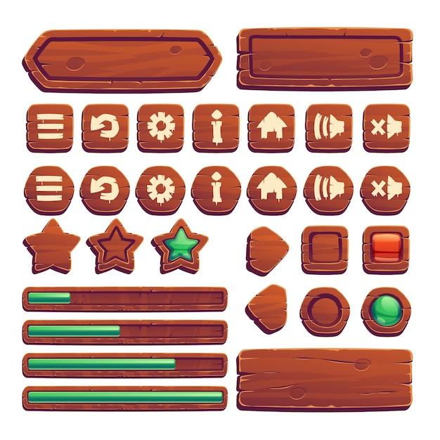 Деревянные кнопки для пользовательского интерфейса игры Бесплатные векторы