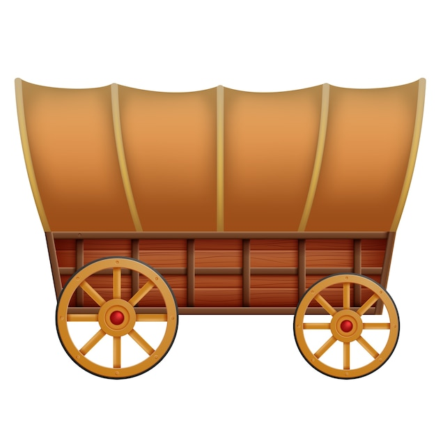 A wooden carriage on a white background Premium Vector
