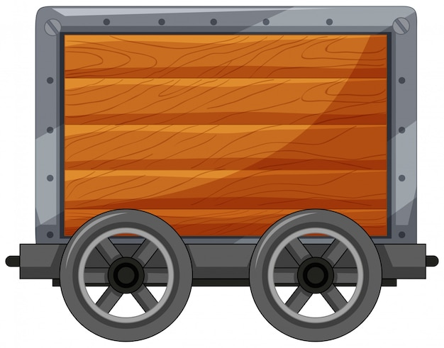 A wooden cart on white background Free Vector