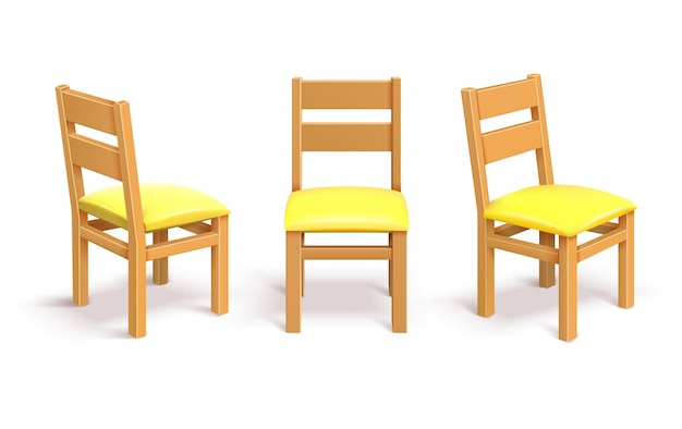 Wooden chair in different position isolated vector illustration Premium Vector