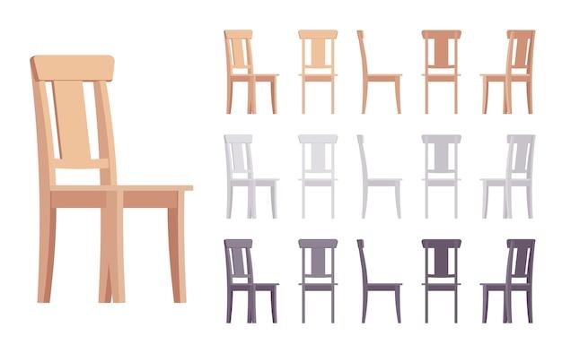 Wooden chair furniture set Premium Vector