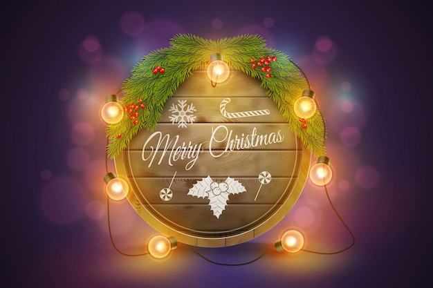 Wooden christmas board with pine branches, light bulbs and holiday wishes. Premium Vector