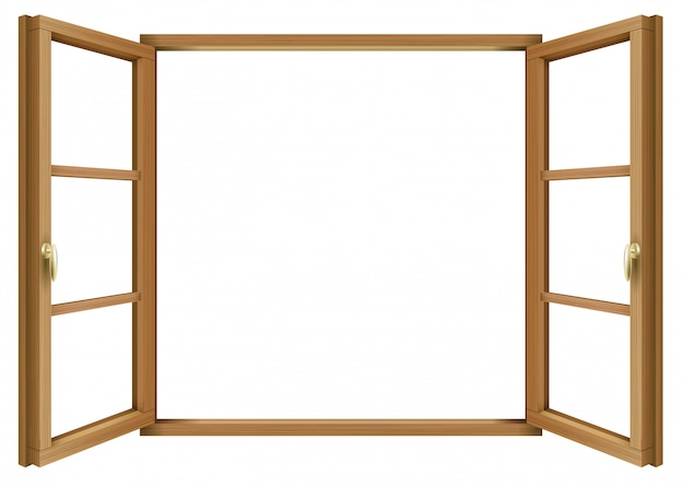 Wooden classic vintage open window Premium Vector