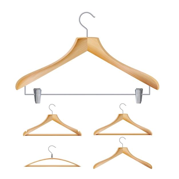 Wooden clothes hangers Premium Vector