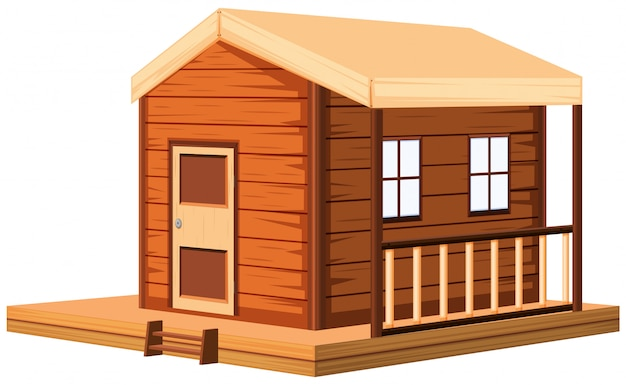 Wooden cottage in 3d Free Vector
