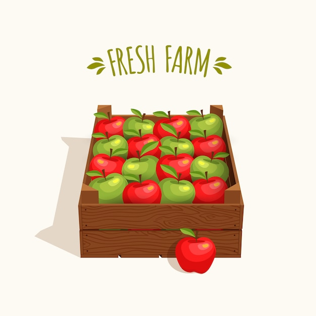 Wooden crate full of apples red and green Premium Vector