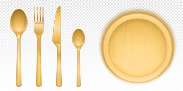레스토랑이나 식당에서 피자를위한 나무 칼 붙이 및 원형 트레이 무료 벡터