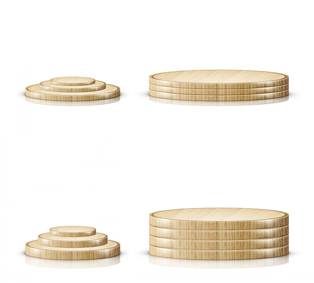 Wooden cutting board tray, realistic podium stage Free Vector