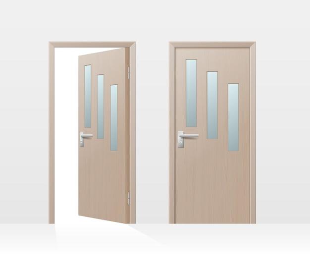 Набор деревянных дверей, закрытая внутренняя квартира и открытая дверь с ручками, изолированные на белом Premium векторы
