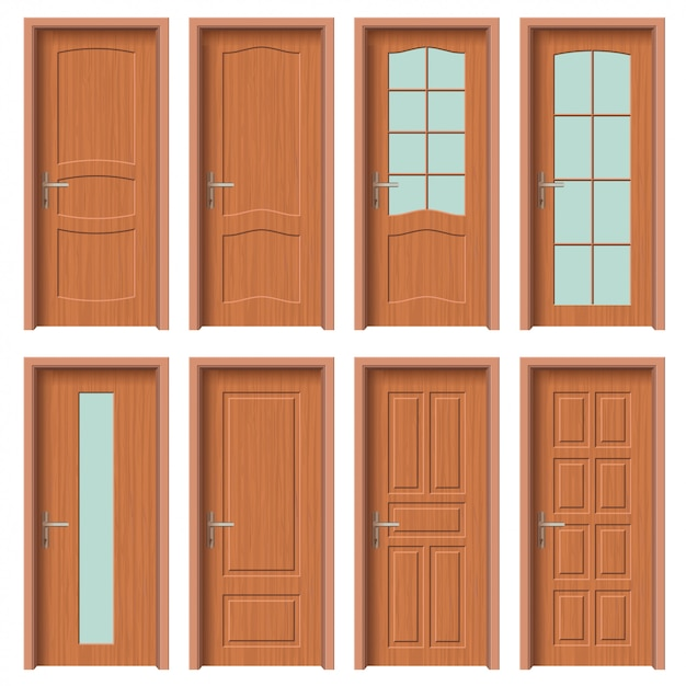 Wooden door set, interior apartment Premium Vector