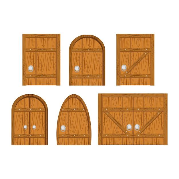 Wooden door set Premium Vector