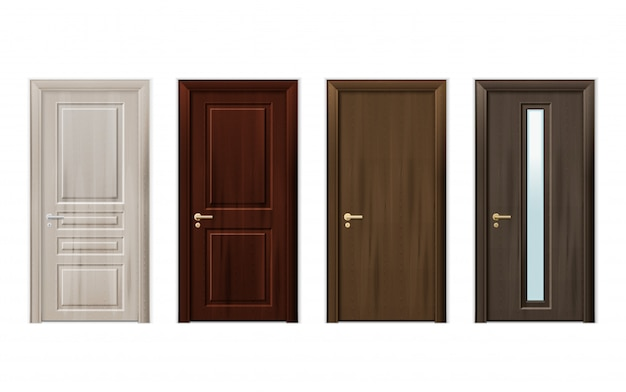 Деревянные двери дизайн икона set Бесплатные векторы