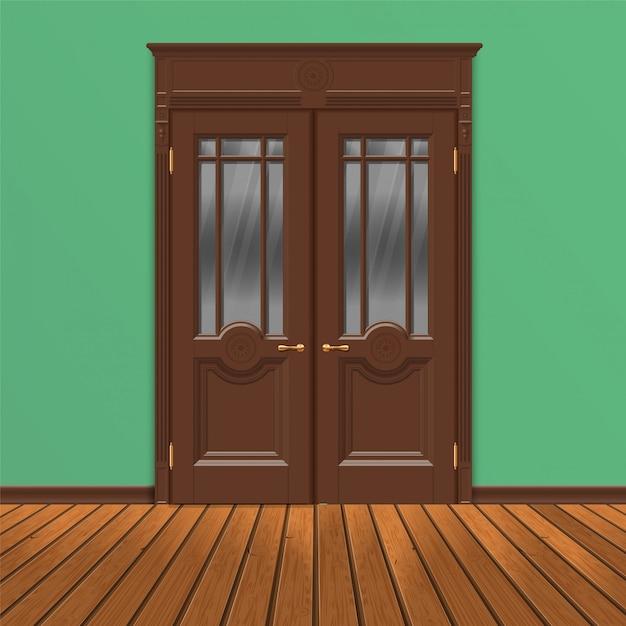 Wooden double entrance door vector Premium Vector