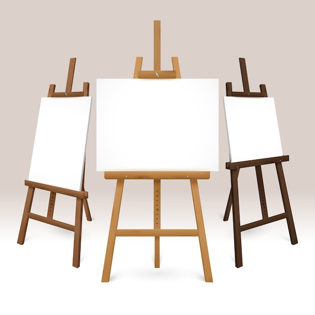 Wooden easel set Free Vector