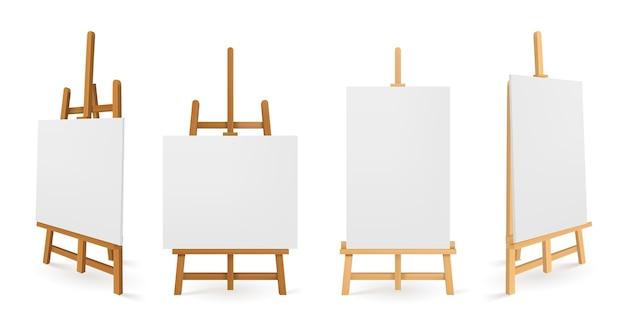 흰색 캔버스 전면 및 측면보기가있는 나무 이젤 또는 페인팅 아트 보드. 무료 벡터